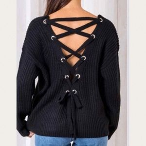 Kirsten slouchy back lace up chain knit sweater